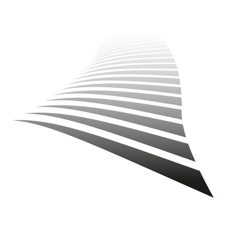 Lines on white background. Diminishing perspective view. Vector art.