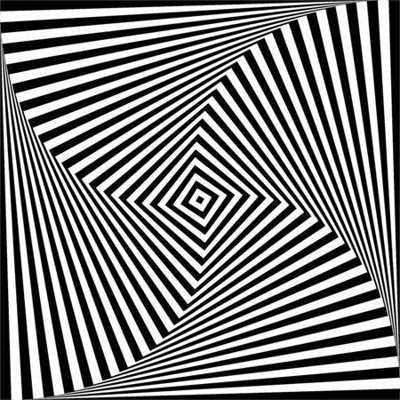 Abstract op art design element. Illusion of swirl twisting movement. Lines texture. Vector illustration.