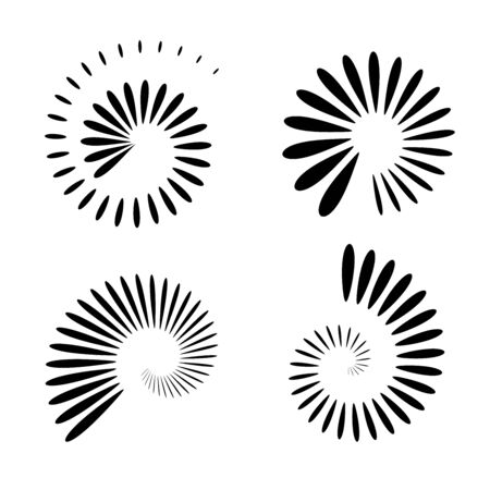 Abstract icons in spiral shape. Design elements set. Vector art.