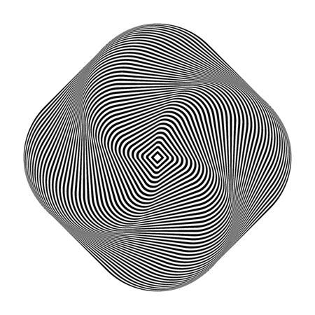 Illusion of torsion swirl movement. Abstract design element. Op art lines pattern. Vector illustration.