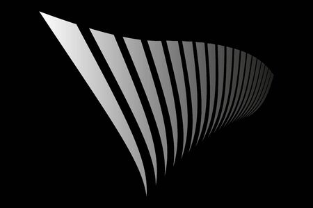 Abstract black background. Striped lines in diminishing perspective. Vector art.