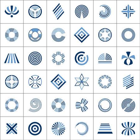 Design elements set. 36 abstract icons. Vector art. Vetores