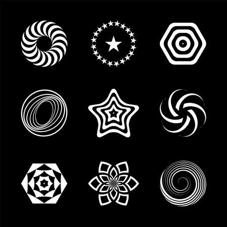 Design elements set. Abstract white icons on black background. Vector art.