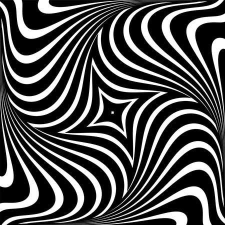 Illusion of swirl rotation movement. Abstract op art design. Vector illustration.