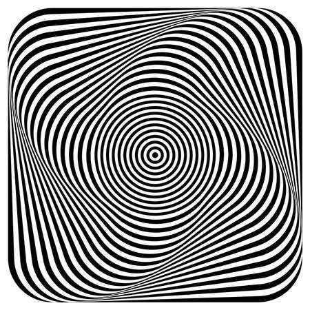 Abstract illusion of 3D whirl movement. Op art vector design.