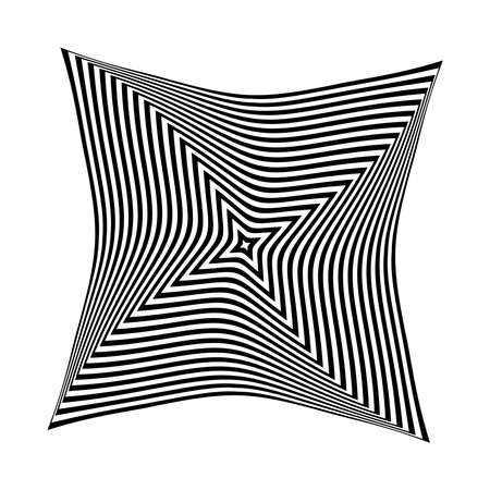 Op art design element. Twisting rotation movement. Abstract black and white striped lines pattern. Vector illustration.