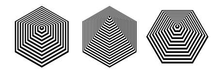 Abstract geometric hexagon shape design elements with 3D illusion effect. Vector art.