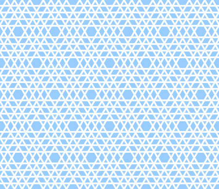 Abstract seamless geometric hexagons and triangles blue pattern and texture. Vector art.