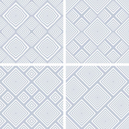 Set of seamless geometric checked blue patterns. Vector art.