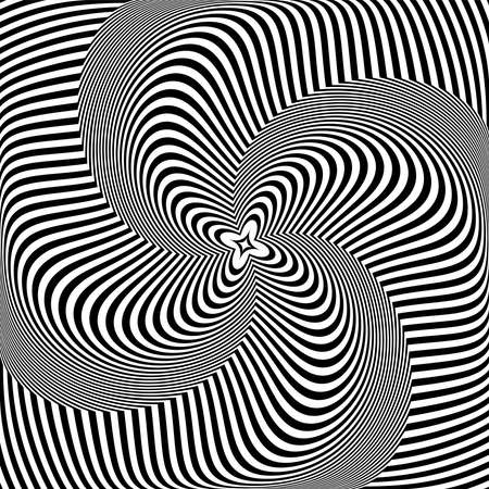 Whirl twisting rotation movement illusion in abstract op art design. Lines texture. Vector illustration.
