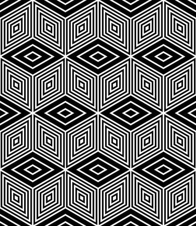 Seamless op art pattern with 3D illusion effect. Vector illustration.