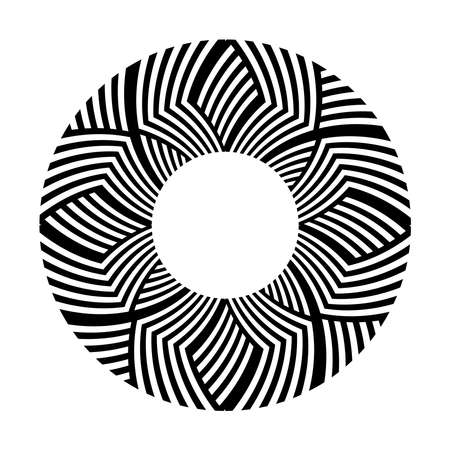 Circle geometric design element. Striped lines pattern. Vector art.