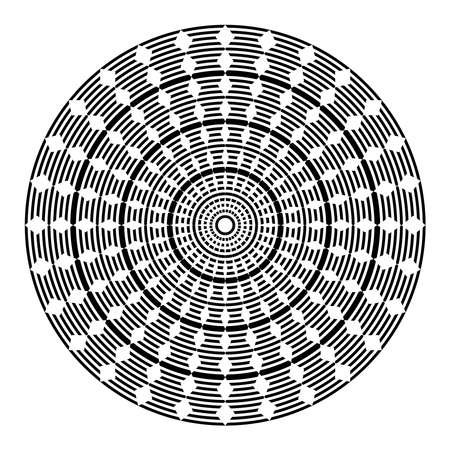 Circle geometric pattern. Abstract rotation circular design element. Vector art.