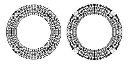 Circle geometric pattern for round frame. Vector art.