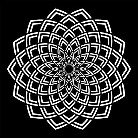 Abstract decorative circle white pattern on black background. Vector art. Illustration