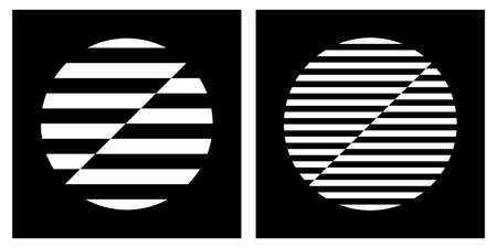 Set of abstract geometric striped black and white design elements. Vector art.