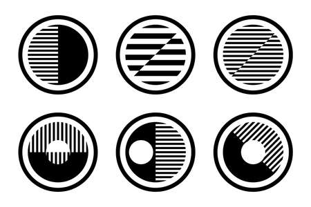 Set of abstract geometric circle black and white design elements. Vector art.