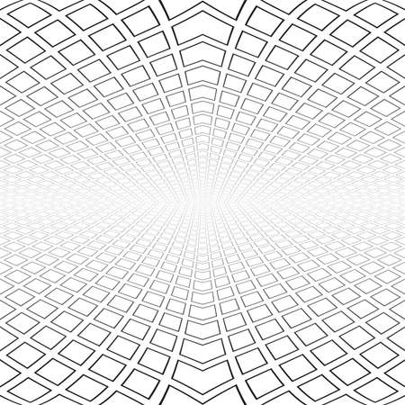 Abstract geometric architectural white background. Diminishing perspective view. Vector art. Illustration