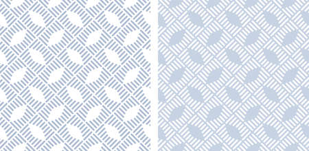 Abstract seamless geometric checked patterns with striped lines texture. Vector art.