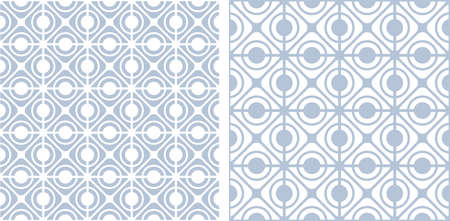 Abstract seamless geometric grid patterns set. Vector art.