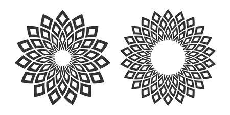 Set of circle geometric patterns. Abstract decorative design elements.  Vector art. Illustration