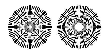Set of circle geometric patterns. Abstract rotation circular design elements.  Vector art. Illustration