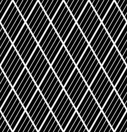 Abstract seamless geometric diamonds and striped lines black pattern and texture. Vector art.