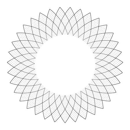 Abstract geometric circle pattern for decorative round frame. Vector art.