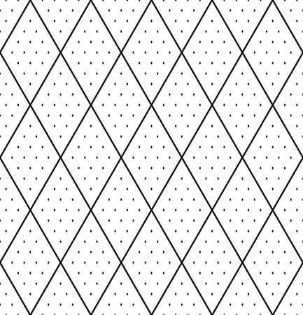 Abstract seamless geometric diamonds and dots pattern and texture. Vector art.