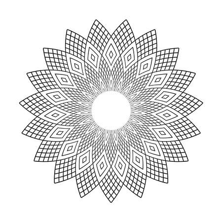 Abstract geometric circle floral pattern. Vector art.