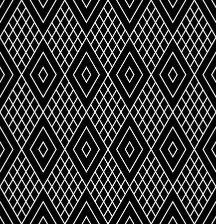 Abstract seamless geometric diamonds black pattern and texture. Vector art. Illustration