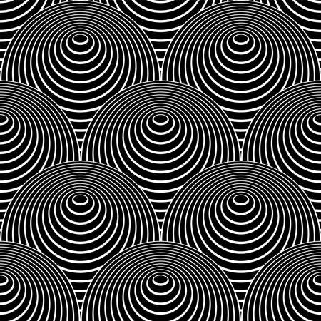Abstract seamless op art pattern in fish scale design with 3D illusion effect. Vector illustration.