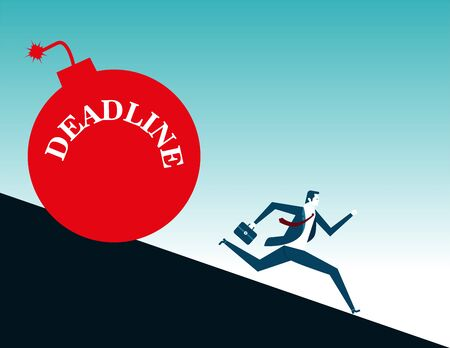 Businessman is running with bomb, deadline. Concept business illustration. Vector flat