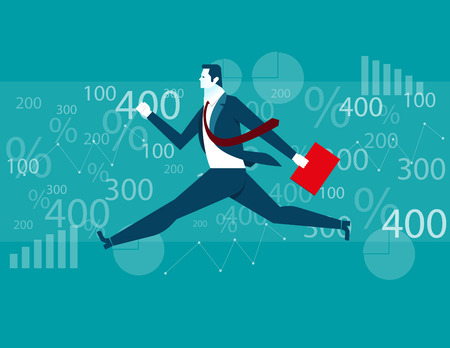 freedom of expression: Businessman Jumping financial background. Concept business illustration. Vector flat Illustration