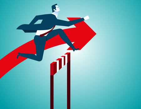 Businessman jumping, Red arrow. Concept business illustration. Vector flat Illustration