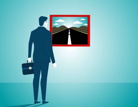 looking for: Businessman looking for a new road. Concept business illustration. Vector flat Illustration