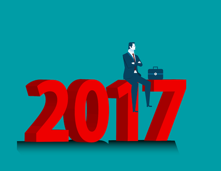 Businessman looking success at sitting above numbers 2017. Concept business illustration. Vector flat Illustration