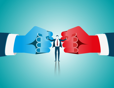 Businessman mediate with lawyer separating two fist glove opposing competitors as an arbitration success. Concept business illustration. Vector flat Stock Illustratie