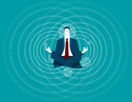 Businessman meditating. Concept business illustration. Vector flat Illustration