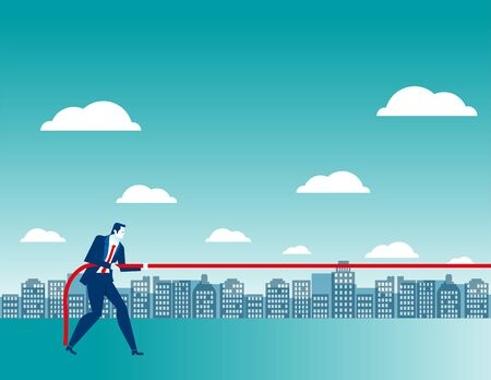 Businessman pulls something. Concept business illustration. Vector flat Illustration
