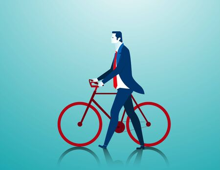 Businessman pushing a bicycle while going to work. Concept business illustration. Vector falt Illustration