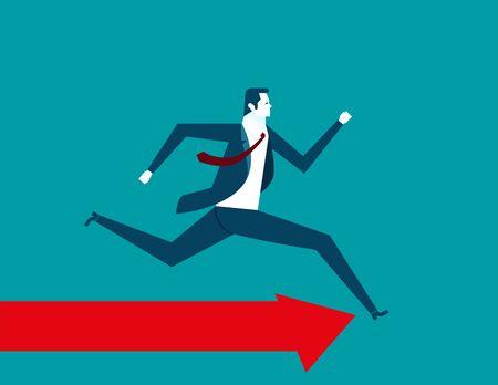 sucess: Businessman running. Concept business illustration. Vector flat Illustration