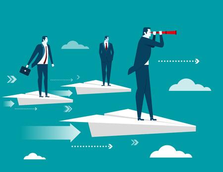Businessman standing on paper plane. Concept business illustration. Vector flat