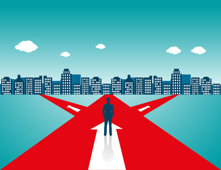 Businessman standing on the road, road to success. Concept business illustration. Vector flat