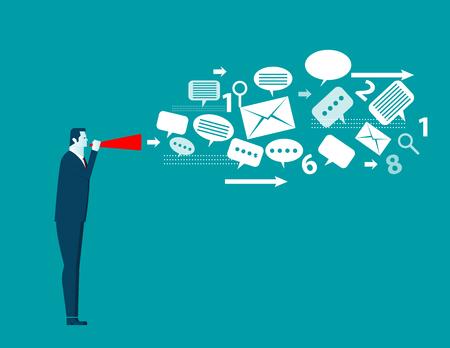 Businessman talk emotionally in paper trumpet. Concept business illustration. Vector flat Illustration