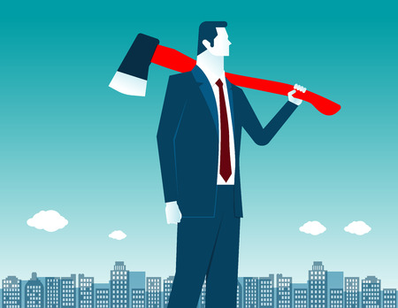cold steel: Businessman with axe on shoulder. Concept business illustration. Vector flat Illustration