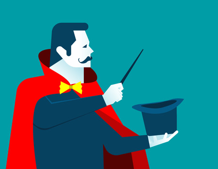 Magician man with wand and hat. Concept business illustration. Vector flat Illustration