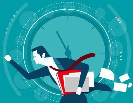 gasping: Businessman in a hurry time. Concept business illustration. Vector flat