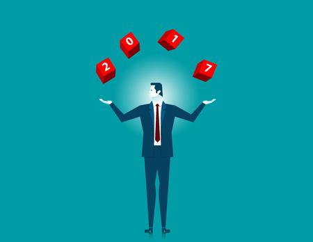 Hombre de negocios que coge la palabra que arroja 2017 en la caja roja. Ilustración de negocios concepto. Vector plano