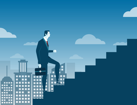 novice: Businessman climbing up staircase on city background. Concept business illustration. Vector flat Illustration